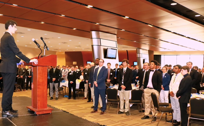 Adam Ledet leads his fellow seniors of the Class of 2016 and alumni in singing Jesuit's Alma Mater at the 15 Annual Commencement Luncheon held Friday, April 29, at the Mercedes-Benz Superdome.