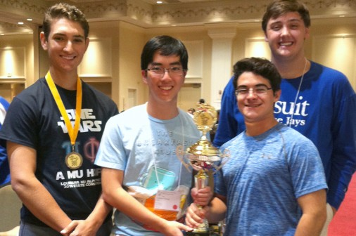 Mu Alpha Theta officers Matthew Miceli, Andrew Vuong, Steven Sellers, and Harrison Millar pictured with the 2016 State Convention 2nd place Sweepstakes Trophy.