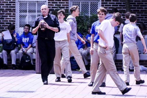Three Flies In with the President! Fr. Fronk, S.J. spent the whole lunch period Thursday playing football with Blue Jays during Welcome Week.